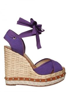 purple wedge sandals   Dolce & Gabbana 130mm Canvas Criss Cross Sandal Wedges in Purple
