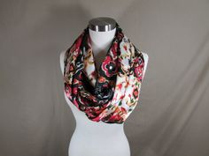 Infinity Scarf in Bright Multicolored Print Handmade Lightweight Scarf Spring Scarf Summer Scarf