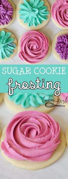 Sugar Cookie Frosting is a crusting vanilla buttercream that pipes and holds shape but tastes amazing at the same time! -Cooking with Karli- #recipe #frosting #icing #buttercream #sugarcookie