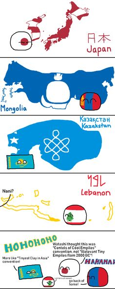"""Wiggly mouse-drawn comics where balls represent different countries. They poke fun at national stereotypes and the """"international drama"""" of their. Short Jokes Funny, History Memes, Flags Of The World, Fun Comics, Satire, I Laughed, Centre, Humor, Hetalia"""