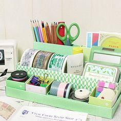 Desk Organizer Box in Box - Greengrass | nothingelegant - Paper on ArtFire