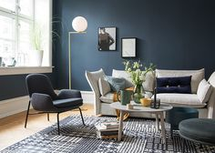 This is the colour for my bedroom walls. Modern Home Interior Design, Modern Kitchen Design, Blue Rooms, Blue Walls, Home Living Room, Living Room Decor, Deco Blue, Decor Room, Home Decor