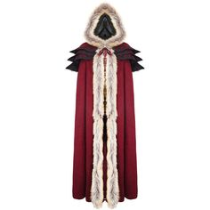 Punk Rave Womens Cloak Coat Jacket Red Fux Fur Gothic Steampunk VTG... ❤ liked on Polyvore featuring outerwear, gothic cloak, fur cloak and red cloak