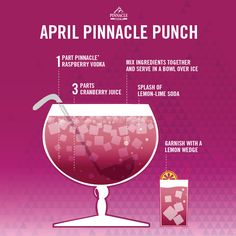 Raspberry Cran Fizz 1 Part Pinnacle® Raspberry Vodka 3 parts cranberry juice splash of lemon-lime soda.  Mix ingredients together and serve in a bowl over ice.