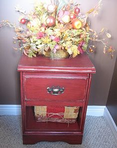I want to refinish our side tables and coffee table to this antique/rustic red