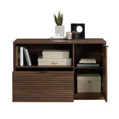 Is the lack of storage in your home office bringing you down? We can fix that! Create the additional storage options you need while adding the modern style that you love with this lateral file credenza. This home office credenza features a top surface with a strong and lightweight panel construction that provides you with space to store and display items like a wireless speaker, decorative plants, work binders, and framed photos. The open storage area provides you with the perfect space for easy 5 Drawer Storage, Office Storage, Storage Cabinets, Storage Shelves, Storage Area, Filing Storage, Desk Essentials, Floor Shelf, Business Furniture