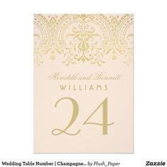 Wedding Table Number | Champagne Vintage Glamour