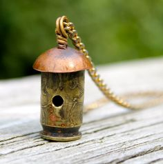 Bullet Shell Birdhouse Pendant Necklace by jillddesigns on Etsy Bullet Shell Jewelry, Shotgun Shell Jewelry, Bullet Casing Jewelry, Ammo Jewelry, Brass Jewelry, Charm Jewelry, Jewelry Crafts, Bullet Necklace, Ammo Crafts