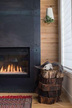 Master Bedroom Plans: The Beloved Built-Ins Material sample for fireplace on roof top deck Industrial Fireplaces, Metal Fireplace, Shiplap Fireplace, Concrete Fireplace, Home Fireplace, Fireplace Remodel, Modern Fireplace, Fireplace Surrounds, Fireplace Design