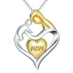 Wunderschöne Mutter mit Kind Halskette   Anhänger 2,4cm×1,9 cm  Kette 46cm  925 Sterling Silber /18k Gelbgold   45€ Neu   Versandkosten   A -1,50€  D -4,50€