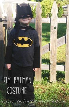 I love this simple and easy DIY Batman Costume idea for dress up or Halloween costumes.