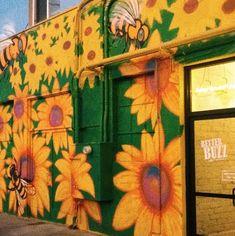 #yellow #flowers #sunflowers #betterbuzz #coffee #green #mural #art #instagram #aesthetic