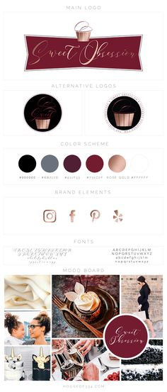 We started by creating a mood board to set the foundation of her rebrand based on images that conveyed her product offering, ideal client, and her business name. Sweet Obsession immediately brought to mind the colors of deep cherry reds, decadent dark chocolate and velvety white icing. Using this upscale color palette, we then designed logos, business cards and a website that truly brought this vision to life.