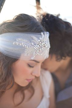 Crystal headband veil. If you want the best officiant for your Outer Banks, NC, ceremony, contact Rev. Barbara Mulford: myobxofficiant.com/