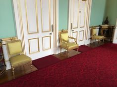 Buckingham Palace has been the official London residence of British Sovereigns since It is currently the administrative headquarters of the Monarch. Gold Chairs, Buckingham Palace London, The Royal Collection, English Style, Satin, Silk, Cotton, Furniture, Home Decor