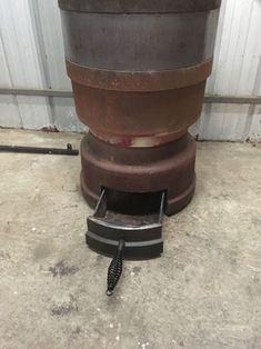 Brake Drum Potbelly Heater : 13 Steps (with Pictures) - Instructables Diy Wood Stove, Diy Smoker, Backyard Bbq, Drums, Planter Pots, Outdoor Decor, Pictures, Fire, Projects
