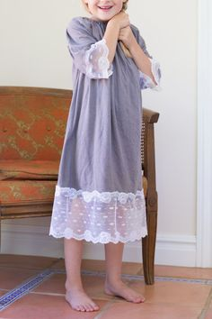 With only 4 pieces of stretchy fabric, you can make this cute and comfortable nightgown for your little girl. It's easy! I give credit to my Mother-In-Law for coming up with these adorable nightgowns.