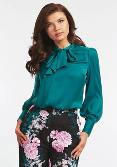 Green Blouse, Satin, Trends, Long Sleeve, Sleeves, Tops, Women, Fashion, Moda