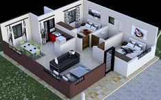 Two Bedroom House Design, Three Bedroom House Plan, Bungalow House Design, Bedroom Designs, 2 Bedroom Apartment Floor Plan, 2 Room House Plan, Two Bedroom Floor Plan, Modern Home Design, Simple House Design