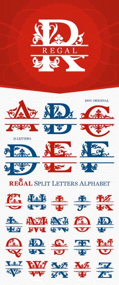 Split Regal Monogram Alphabet - Cutting Files - SVG, DXF, EPS, Studio3.  These Cutting Files can be used with Silhouette Studio, Silhouette Studio