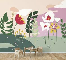 Summer clouds wallpaper mural