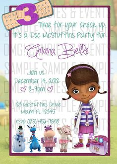 Doc McStuffins Party Invite on Etsy