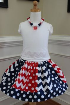 chevron 4th of july outfit 4th of july skirt by LightningBugsLane, $35.00