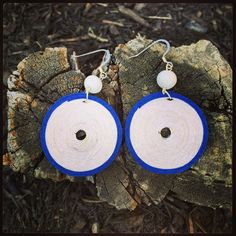 Hemp cord earrings blue and white only at La Mona Mossa on etsy :)