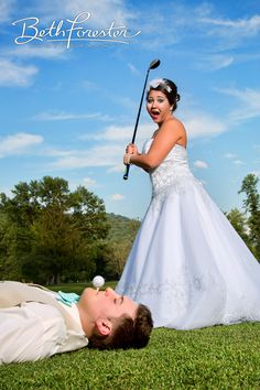 Funny Wedding photo of bride and groom ..tee it up, golf inspired wedding pic