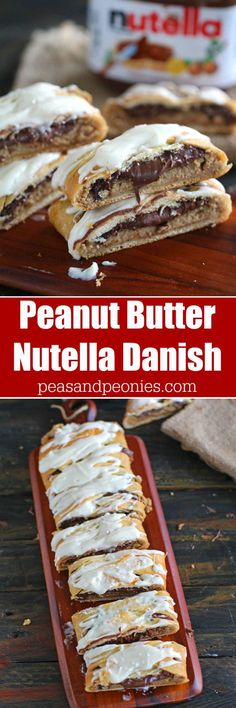 This Peanut Butter Nutella Danish Recipe is super easy to make, a soft danish filled with peanut butter cheesecake and lots of Nutella. (easy snacks with nutella) Brunch Recipes, Breakfast Recipes, Dessert Recipes, Breakfast Ideas, Danish Food, Nutella Recipes, Cupcakes, Cookies Et Biscuits, Mud Cookies