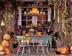 Pergola decorated for Fall