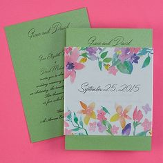 Watercolor Expression Invitation - Green Shimmer weddingneeds.carlsoncraft.com