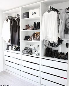 Add style and storage space to your bed room with these open closet designs STYLECASTER Wardrobe Closet, Master Closet, Closet Bedroom, Wardrobe Doors, Walk In Closet Ikea, White Wardrobe, Closet Space, Master Suite, Minimalist Closet