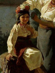 Український художник-живописець і графік Трутовський. Одягають вінок. 1877рік. Фрагмент.