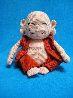 """This --- PDF CROCHET PATTERN --- describes in US terminology how to crochet a laughing Buddha as shown on picture, including the cloth. Finished size will be approx. 9"""" (23 cm) tall, in sitting position, crocheted using acrylic yarn (8 ply / DK), with hook size E (3.5 mm). If you wish"""