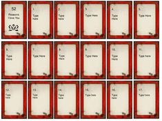 Deck Of Cards Template Inspirational 52 Things I Love About You Card Deck Template Free