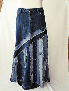 Long Jeans Skirt - Made to Order - Long Ella Denim Skirt Denim Skirt Outfit Winter, Jeans Outfit For Work, Denim Skirt Outfits, Work Jeans, Denim Skirts, Outfit Jeans, Shirt Outfit, Jeans Refashion, Diy Jeans