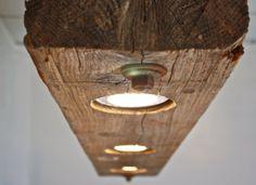 Rustic modern hanging reclaimed wood beam light fixture for Diy wood beam light fixture