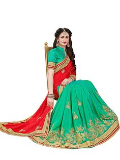 a92ebf658c693 Manohari Women s Silk Saree with Blouse Piece(MN347 Red Free Size)   Amazon.in  Clothing   Accessories