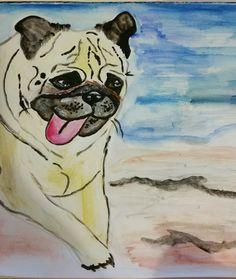Pug running along the beach, Jade Hurdle watercolor
