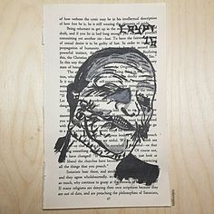 "Book page painting of Corey Taylor from Slipknot's ""Gray Chapter"" album. Painted onto a page from the Satanic Bible!  mrcrypt.bigcartel.com"