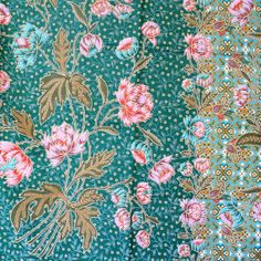 green and pink print vintage flowers cotton traditional Indonesian Batik…
