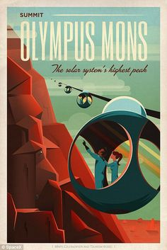 'Mars, Olympus Mons - Retro/vintage space travel poster ⛔ HQ-size' Poster by DJ Alex Aveel Arte Sci Fi, Sci Fi Art, Poster Art, Kunst Poster, Poster Prints, Poster Boys, Space Tourism, Space Travel, Travel Trip