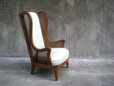 Swoon! vintage cane wingback chair in light aqua chevron zig-zag stripe. Sold!