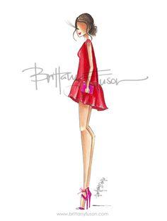 Brittany Fuson: Go Red for Women Looks like my Christmas dress Fashion Art, Girl Fashion, Fashion Design, Fashion Sketches, Fashion Illustrations, Illustration Fashion, Little Red Dress, Dress Red, Go Red