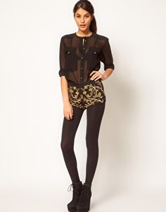 If only the belly wasn't so large. ASOS Premium Hot Pant with Floral Embellishment