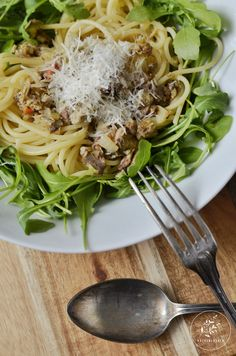 Spaghetti mit Nuri und Rucola - Nuri - Sardinen - Spaghetti Rezept