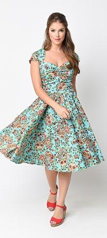 Hell Bunny 1950s Style Teal Sugar Skulls Sasha Swing Dress