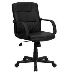Contemporary Executive Chair Dual Wheel Casters Black Leather Home Office Decor