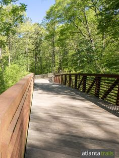 The South Peachtree Creek Trail winds over an extended boardwalk through the trees